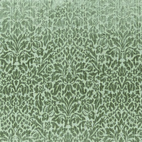 Symphony Apetito - Sage - Fabric made from polyester and cotton in two shades of grey, patterned with small leaves and other small shapes