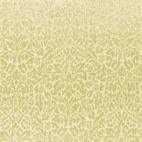 Symphony Apetito - Desert - Golden yellow leaves and other small shapes as patterns on a cream coloured polyester and cotton blend fabric ba