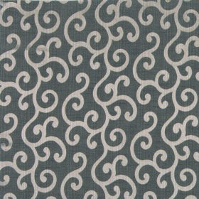 Symphony Alegria - Taupe - Light cream-grey swirls printed on a gunmetal grey coloured polyester and cotton blend fabric background