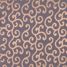 Symphony Alegria - Orchid - Dark purple coloured fabric containing a polyester and cotton blend, patterned with copper coloured swirls