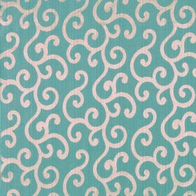 Symphony Alegria - Petrol - Polyester and cotton blend fabric in dusky blue and warm cream colours, covered with a neat swirled pattern