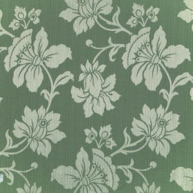 Symphony Aroma - Thyme - Light and dark grey coloured polyester and cotton blend fabric with a large intricate pattern of flowers and leaves