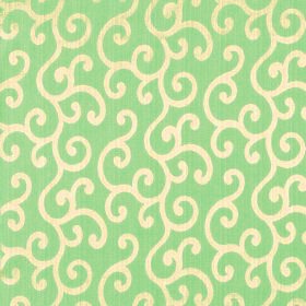 Symphony Alegria - Sage - Swirls in a pale creamy yellow colour covering fabric made from polyester and cotton in light green