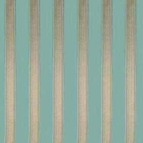 Symphony Mundo - Petrol - Fabric made from vertically striped light blue and silver coloured polyester and cotton