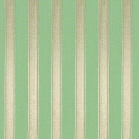 Symphony Mundo - Sage - Polyester and cotton blend fabric made with a regular even vertical striped design in shiny cream and mint green col