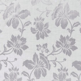 Symphony Aroma - Sable - Fabric made from polyester and cotton with a large, detailed floral pattern in white and silver colours