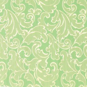 Symphony Ambiente - Sage - Swirled leaves in light green and outlined in cream printed on a leaf green polyester and cotton blend fabric bac