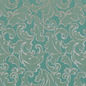 Symphony Ambiente - Petrol - Dusky blue polyester and cotton blend fabric patterned with swirled leaves in grey which are outlined in off-wh