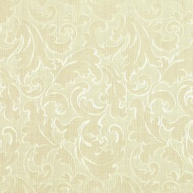 Symphony Ambiente - Oatmeal - Cream and white coloured polyester and cotton blend fabric featuring a very subtle pattern of large swirled le