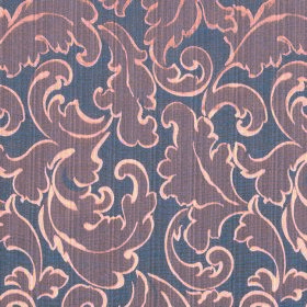 Symphony Ambiente - Orchid - Copper-cream coloured outlines to iron grey swirled leaves on indigo coloured fabric made from polyester and co