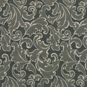 Symphony Ambiente - Taupe - Polyester and cotton blend fabric featuring a swirled leaf design in two dark shades of grey, with off-white out