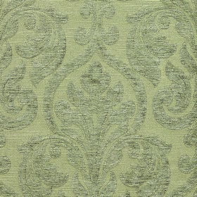 Weaver Republican - Linen - Subtle, large, light grey coloured patterns on light green fabric containing a blend of polyester and cotton