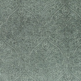 Weaver Ripley - Mushroom - A subtle, ornate design made up of white lines on a steel grey coloured fabric background made from polyester and