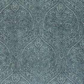 Weaver Ripley - Pewter - Polyester and cotton blend fabric in gunmetal grey, patterned subtly in white with a large, repeated, ornate design