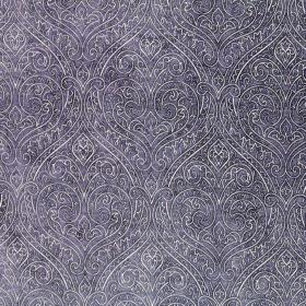 Weaver Ripley - Plum - Fabric made from purple-grey coloured polyester and cotton with a large, repeated, ornate design created by white lin