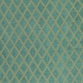 Weaver Finch - Mineral - Polyester and cotton blend fabric in grey behind a regular, repeated design of simple diamonds in dusky blue