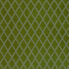 Weaver Finch - Moss - Light grey and olive green coloured polyester and cotton blend fabric patterned with simple diamond shapes
