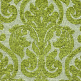 Weaver Republican - Moss - Large, ornate flowers and swirls in grass green on a pale grey polyester and cotton blend fabric background
