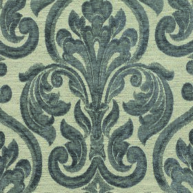 Weaver Republican - Pewter - Dark grey-blue flowers and swirls on a light grey fabric background made from polyester and cotton