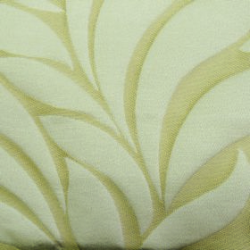 Willow Large Leaf - Cream - Large simple off-white leaves arranged on a very pale yellow polyester and linen blend fabric background