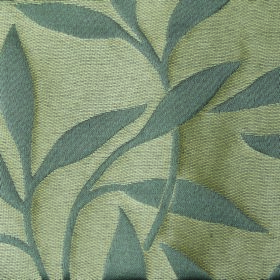 Willow Small Leaf - Mist - Fabric made from cream and grey coloured polyester and linen with a simple leaf and stem pattern