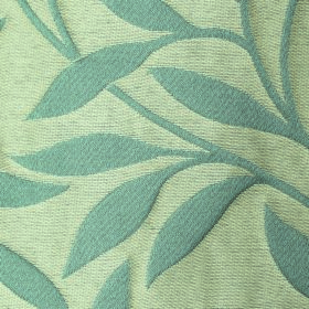 Willow Small Leaf - Teal - Pale dusky blue coloured leaves and stems on cream coloured fabric made from a mixture of polyester and linen
