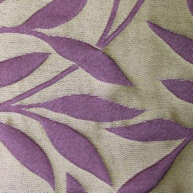 Willow Small Leaf - Violet - Leaf and stem patterned polyester and linen blend fabric with a light purple design on a cream background