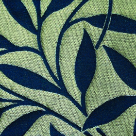 Willow Small Leaf - Navy - Fabric blended from polyester and linen in navy blue and pale green-grey, with a simple design of leaves and stem