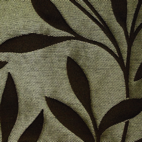 Willow Small Leaf - Chocolate - Dark brown andlight grey coloured, leaf and stem patterned fabric made with a polyester and linen blend