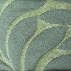 Willow Large Leaf - Mist - Pale green polyester and linen blend fabric behind a simple, large leaf design in a flat shade of mid-grey