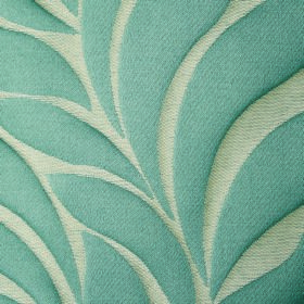 Willow Large Leaf - Teal - Polyester and linen blend fabric featuring a large, simple leaf design in light blue and off-white