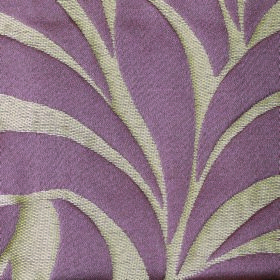 Willow Large Leaf - Violet - Light purple and very pale grey coloured fabric containing a polyester and linen blend, patterned simply with lar