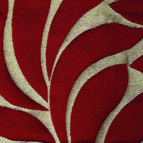 Willow Large Leaf - Rose - Large, simple, burgundy coloured leaves on a cream coloured background of fabric made from polyester and linen