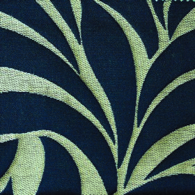 Willow Large Leaf - Navy - A background of very pale cream-green polyester and linen blend fabric to a large, simple leaf design in midnight