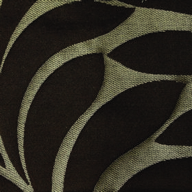 Willow Large Leaf - Chocolate - Fabric made from light grey polyester and linen, patterned with large, simple leaves the colour of coal