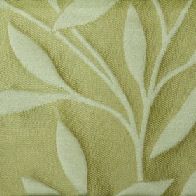 Willow Small Leaf - Cream - Ivory coloured leaves and stems on a light yellow background made from polyester and linen fabric