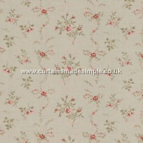 Sprig - Pink - Small red flowers impression on white fabric