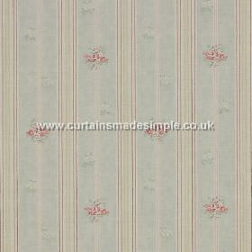 Matilda - Blue - Fabric with blue stripes and red roses