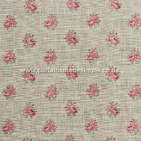 Agatha - Red - Grey linen fabric with grid of  classic red roses from
