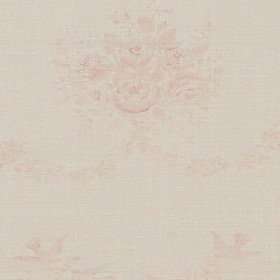 Sophia - Pink - Hanging pink roses on white fabric