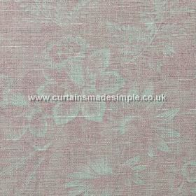 Ophelia - Pink - Pink fabric with teal flower impression