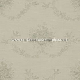Sophia - Grey - Grey hanging roses on white fabric