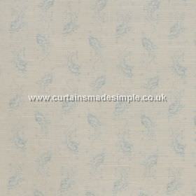 Eliza - Blue - Blue feather impressions on white fabric