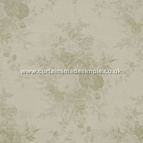 Roses - Sage - Sage green rose impressions on white fabric