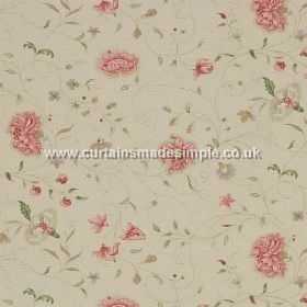 Octavia - Pink - Pink flowers with entangled stems on white fabric