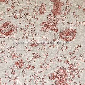 Antoinette - Red - Red flowers with entangled stems on sandy fabric