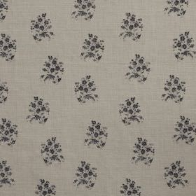 Agnes - Charcoal - Delicate black flowers printed as a small floral pattern on a grey linen fabric background