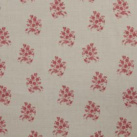 Agnes - Pink - Linen fabric in light grey with light red flowers printed repeatedly on top