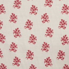 Agnes - Red - Groupd of small, rich red flowers printed on an off-white fabric background made from cotton