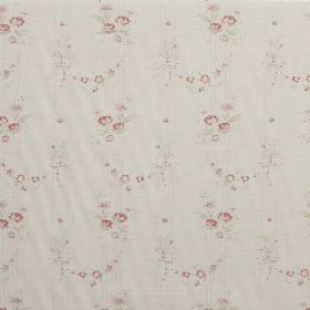 Bella - Pink - A very subtle floral pattern in light pink and cream on an off-white linen fabric background